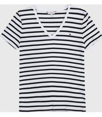 camiseta blanco-azul navy tommy hilfiger