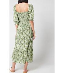 faithful the brand women's le galet midi dress - sable paisley print - xs
