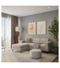 sofá 3 lugares calmness com chaise esquerdo pé palito linho cotton cru