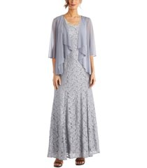r & m richards petite lace gown & jacket
