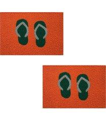 2 tapete capacho emborrachado 60x40cm chinelo - laranja - feminino - dafiti