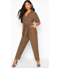 button front cargo jumpsuit, khaki