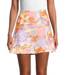 nanette lepore women's floral a-line mini skirt - bloom - size xl