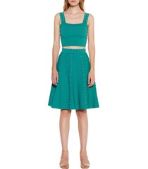 women's sandro beaded a-line skirt, size 3 - green