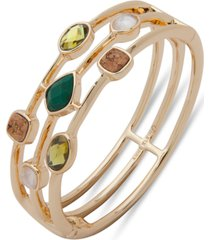 anne klein gold-tone stone & cork triple-row bangle bracelet