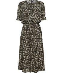 bella printed viscose dress knälång klänning svart residus