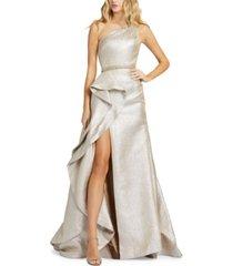 mac duggal one-shoulder gown