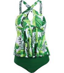 criss cross keyhole floral leaves print tankini swimwear