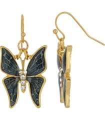 2028 women's gold tone and crystal accent butterfly drop earrings