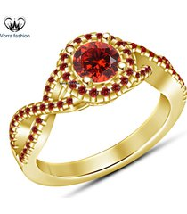 criss cross engagement ring round cut red garnet yellow gold plated 925 silver