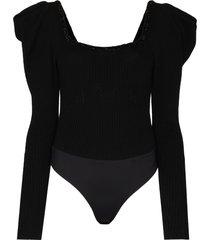 johanna ortiz ribbed ruffle shoulder bodysuit - black