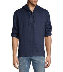 half-button linen hoodie