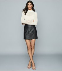 reiss arden - leather mini skirt in black, womens, size 10