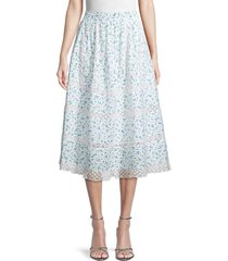 loveshackfancy women's eponda floral-print cotton skirt - bonnet blue - size xxs
