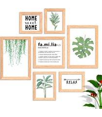 conjunto kit 7 quadro oppen house s frases reflexão home sueet folhagem família moldura e vidro