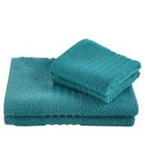 jogo toalha felpuda de banho lepper unique 3 peças turquesa