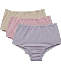 kit 3 calcinhas altas conforto femininas adulto em algodão