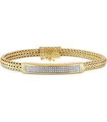 esquire men's jewelry diamond id bracelet (3/4 ct. t.w.) in 14k gold over sterling silver