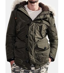 plus size winter filling duckdown parka fleece hooded windproof coat for men