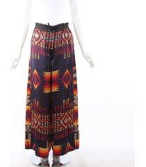 sacai pendleton multicolor high waist wide leg pajama pants blue/red sz: m