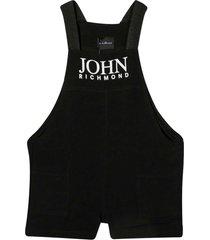 richmond black short jumpsuit with print