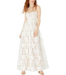 bcx juniors' embroidered floral bustier gown
