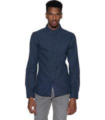 anerkjendt casual shirt met lange mouwen blauw