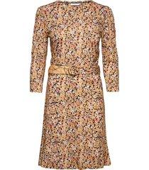 print 3/4 slv jersey dress knälång klänning gul calvin klein