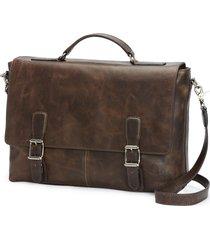 men's frye logan leather briefcase - brown
