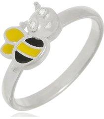 anel boca santa abelhinha zum zum - prata 925 - kanui