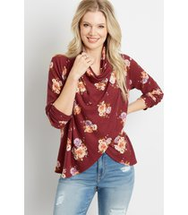maurices womens red floral asymmetrical cardigan