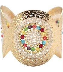 brazalete imperial tejido a mano baño oro multicolor perlado bijulovers