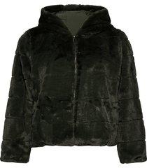 carchris fur hooded jacket otw outerwear faux fur grön only carmakoma