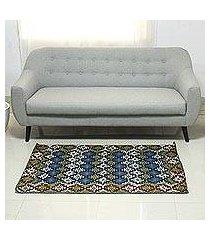 chain stitched wool rug, 'tribal diamonds' (3x5) (india)