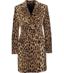 ermanno scervino double-breasted midi coat with animalier print