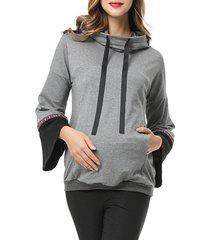 women's kimi and kai layla cowl neck maternity/nursing hoodie, size medium - grey