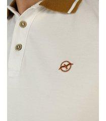 camiseta polo blanca cuello amarillo cp145