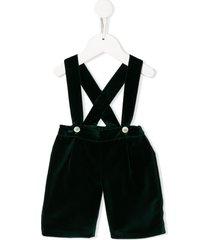siola velvet overall shorts - green