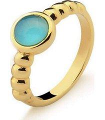 anel infantil solitário agata azul pedra natural di capri semi jóias x ouro incolor - kanui