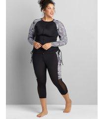lane bryant women's zip-front rashguard - long sleeve 26 graphic leaves