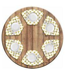 jogo americano love decor  para mesa redonda wevans corações kit com 6 pçs