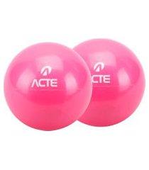 par de bolas tonificadora 12cm 1kg em pvc rosa t55 acte