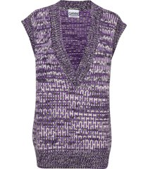 hand knit wool vest-indoor paars ganni