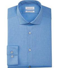 calvin klein men's infinite slim fit dress shirt blue sky print - size: 17 36/37