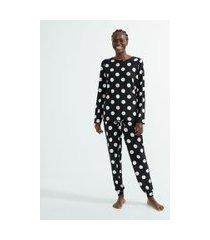 pijama blusa manga longa e calça estampa poá toque suave | lov | preto | m