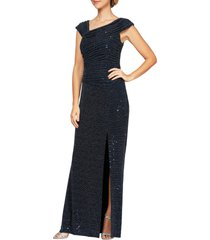 alex evenings sequin ruched neck sparkle knit gown, size 18 in navy/silver at nordstrom