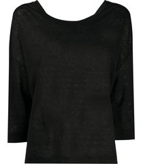 forte forte sheer style cropped sleeve t-shirt - black