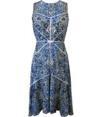 taylor printed v-neck stitched lace midi dress