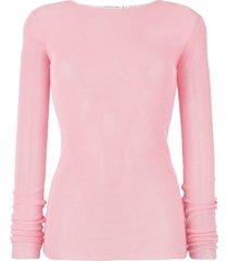 helmut lang drop needle woven top - pink