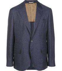 brunello cucinelli textured v-neck blazer jacket - blue